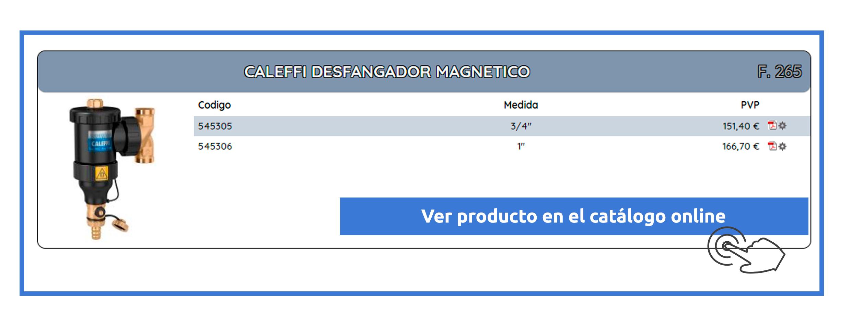 Caleffi desfangadores sistema magnético en Dimasa